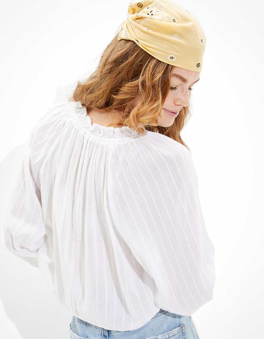 AE Tie-Front Bubble-Sleeve Blouse