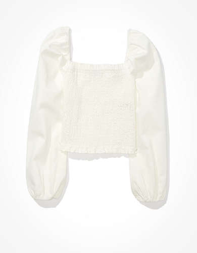 AE Smocked Long-Sleeve Top