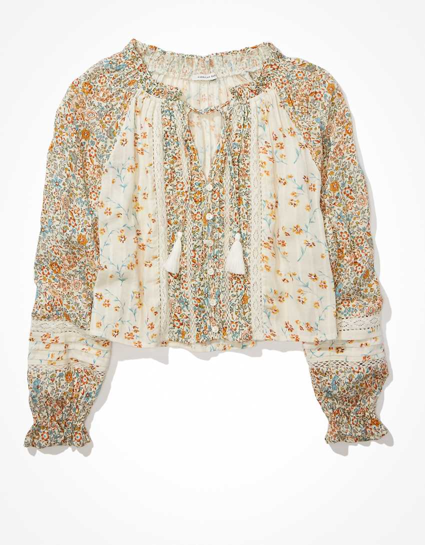 AE Floral Button-Up Blouse