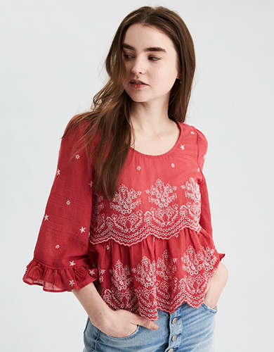 AE Embroidered Bell Sleeve Top