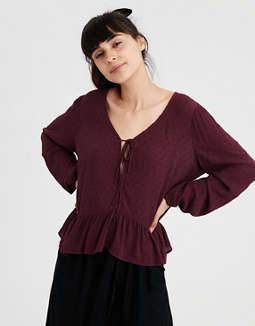 Ae Tie Front Long Sleeve Blouse by American Eagle Outfitters