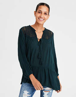 Ae Lace Inset Long Sleeve Tunic Blouse by American Eagle Outfitters
