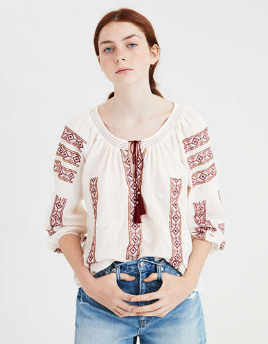 AE Embroidered Tassel Blouse