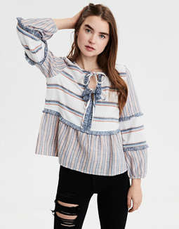 AE Long Sleeve Striped Blouse