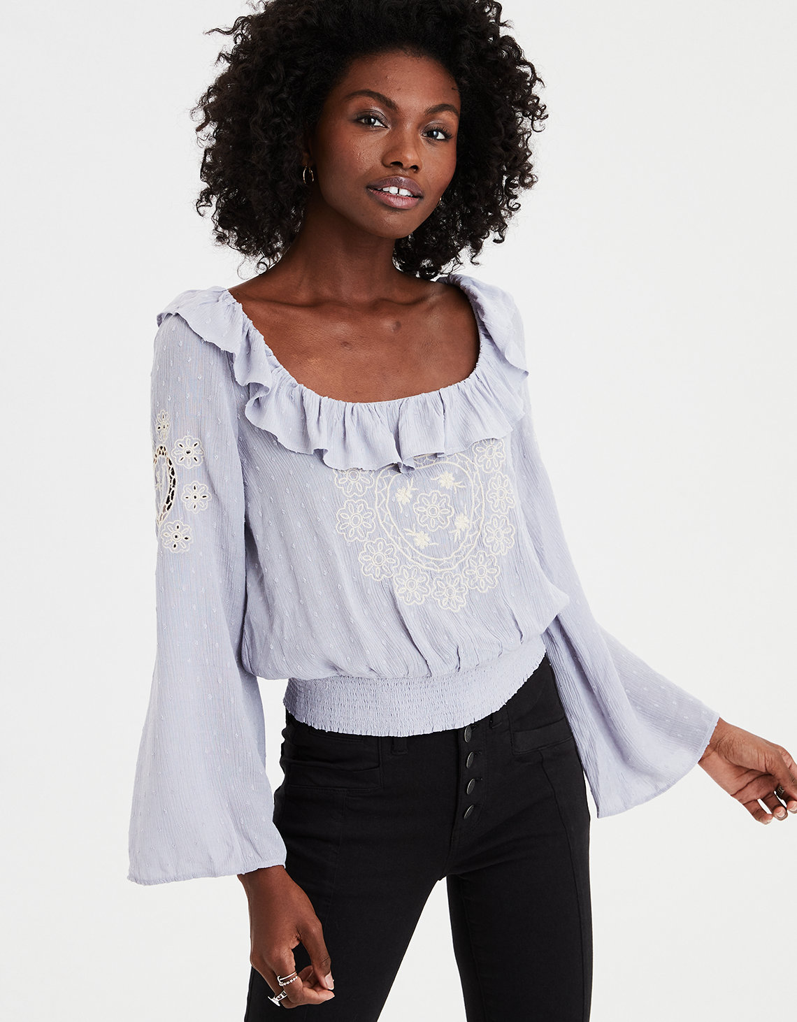 43cbaf47d8f AE Long Sleeve Embroidered Blouse