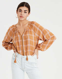 AE Plaid Peasant Top