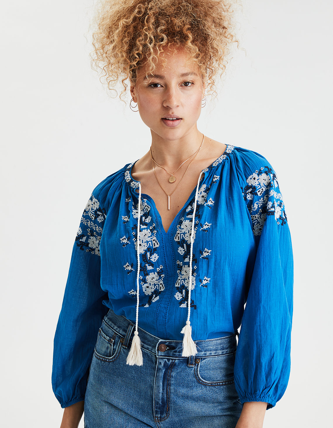 AE Embroidered Peasant Top