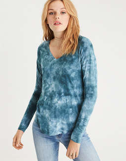 Ae Soft & Sexy Long Sleeve V Neck T Shirt by American Eagle Outfitters