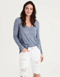 Ae Soft & Sexy Plush Long Sleeve V Neck T Shirt by American Eagle Outfitters
