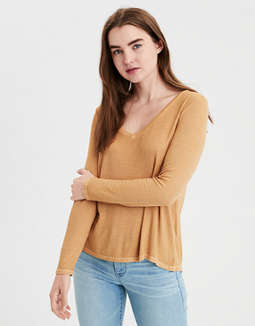 ae-soft-&-sexy-ribbed-long-sleeve-v-neck-t-shirt by american-eagle-outfitters