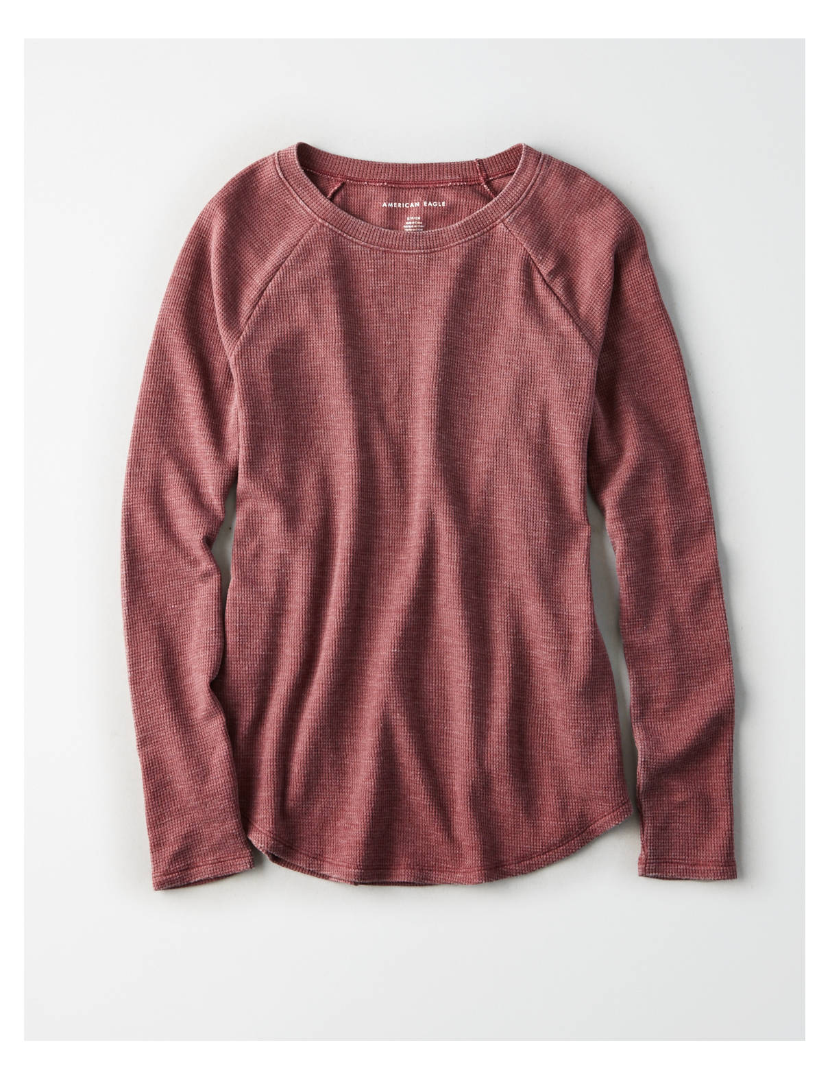 Ae Long Sleeve Waffle T Shirt Burgundy American Eagle Outfitters Knit Hoodie Fingerless Maroon This Review Is Fromae