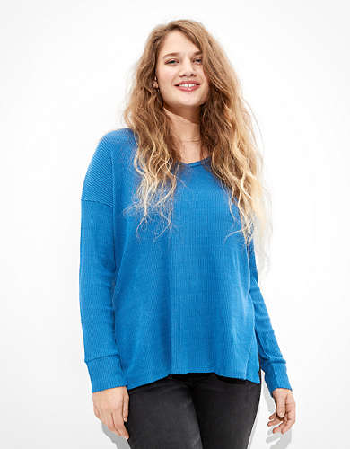 AE Soft & Sexy Plush Long Sleeve V-Neck T-Shirt