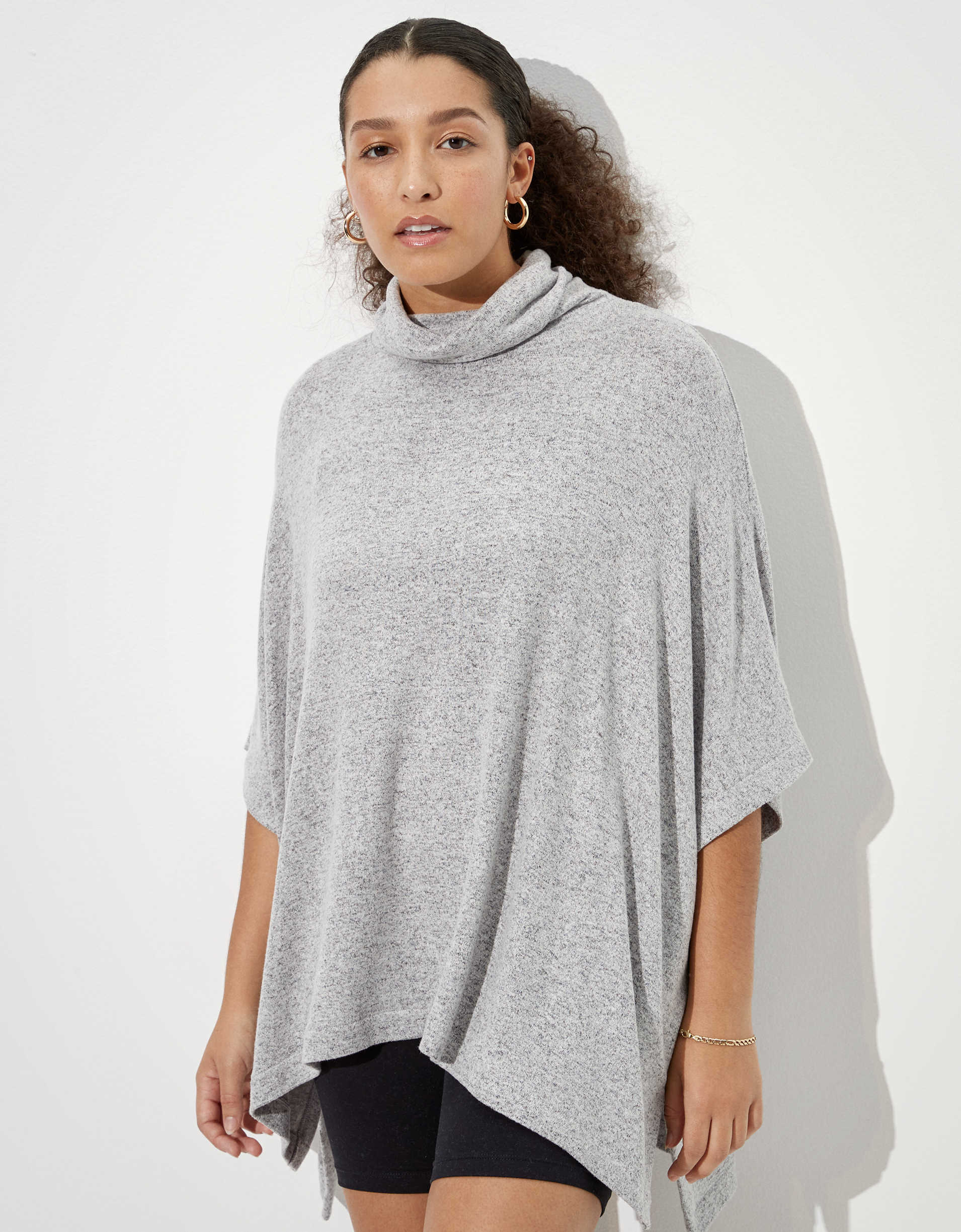 AE Plush Cowl Neck Poncho