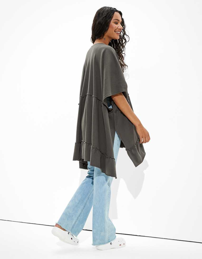 AE Fleece Ruffled Kimono