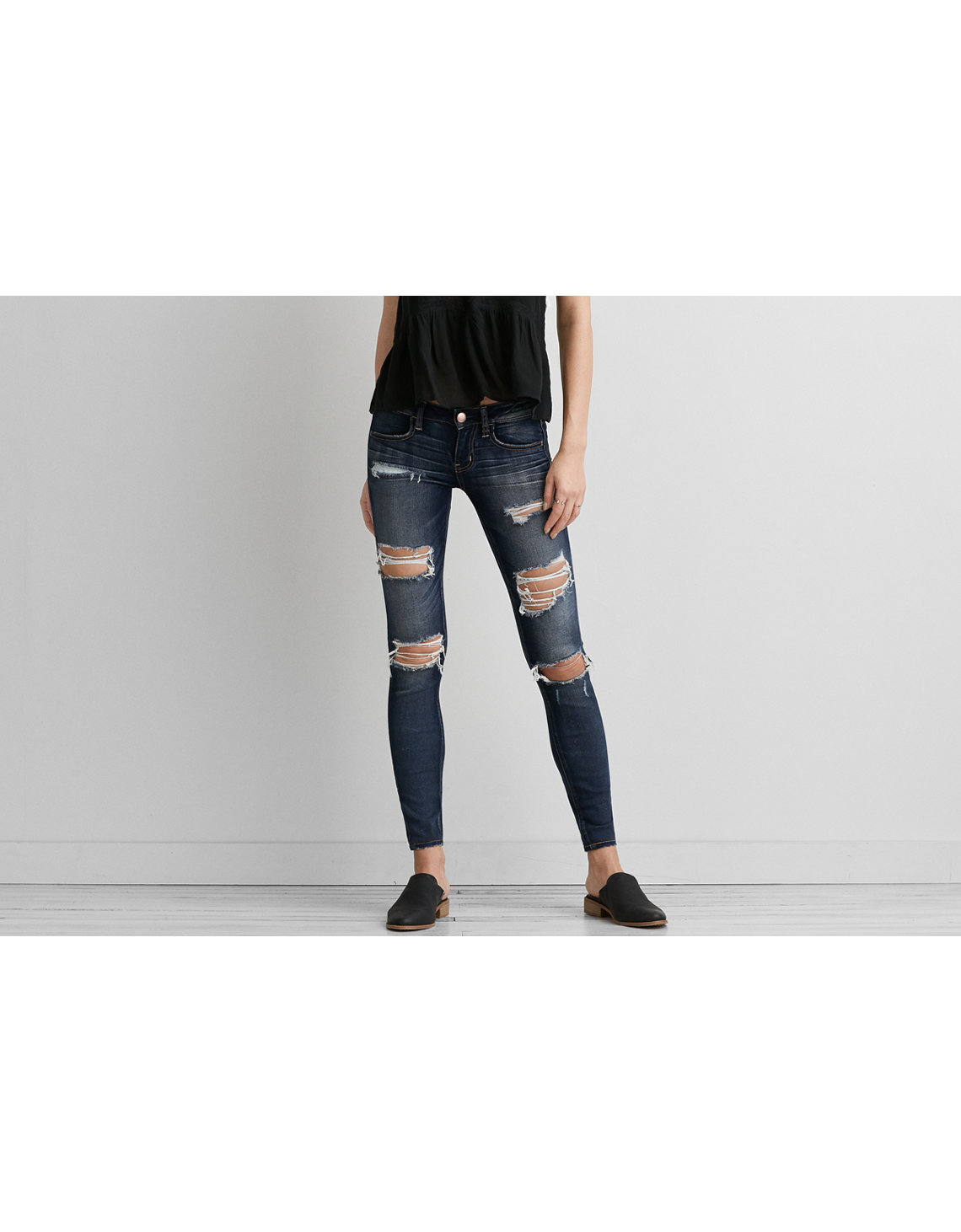 Ae Denim X Super Low Rise Jegging Darken Destroy American Eagle
