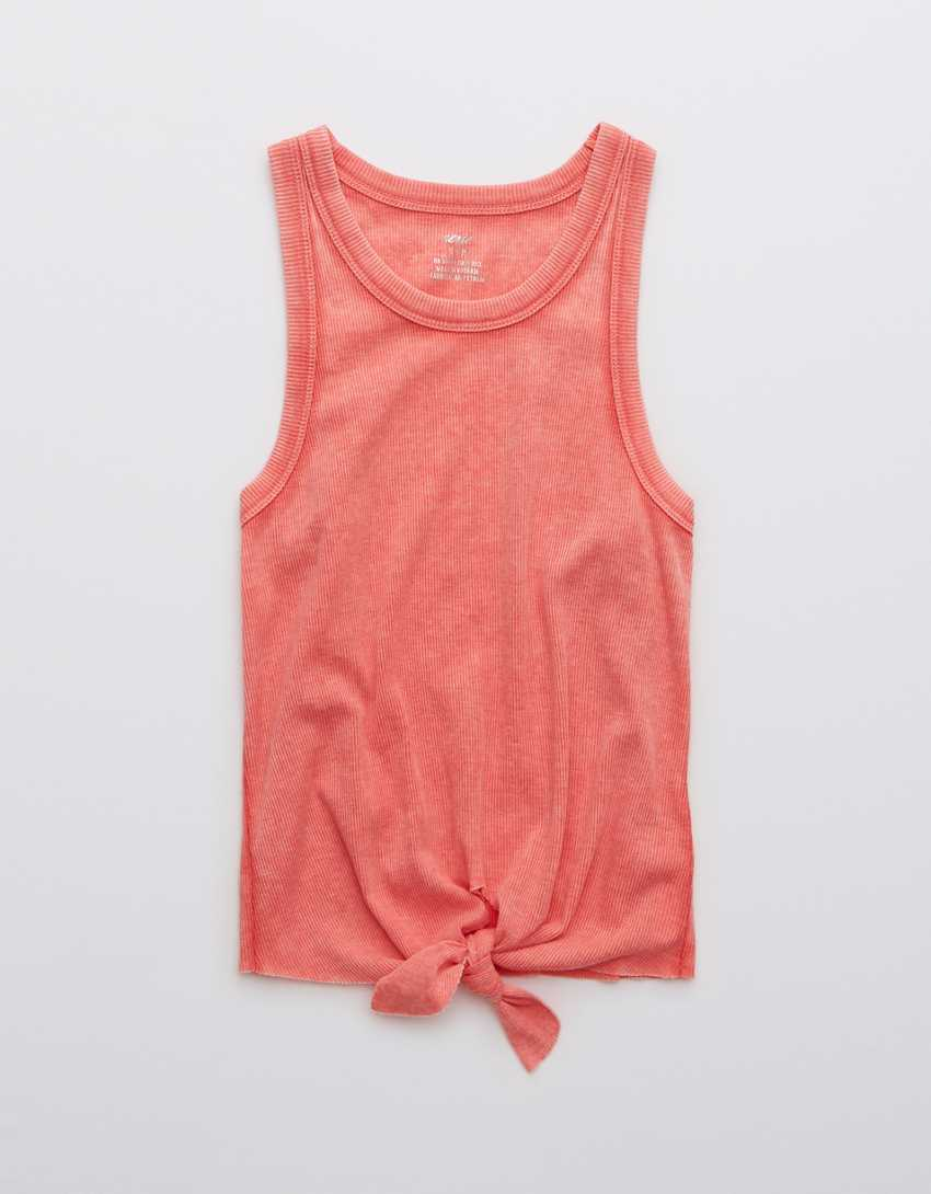 Aerie Ribbed Tie Front High Neck Tank Top