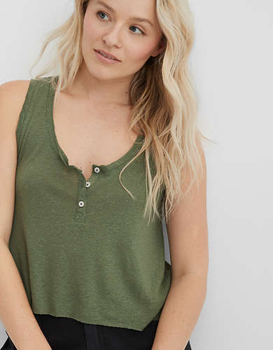 Aerie Breezy Linen Distressed Tank Top