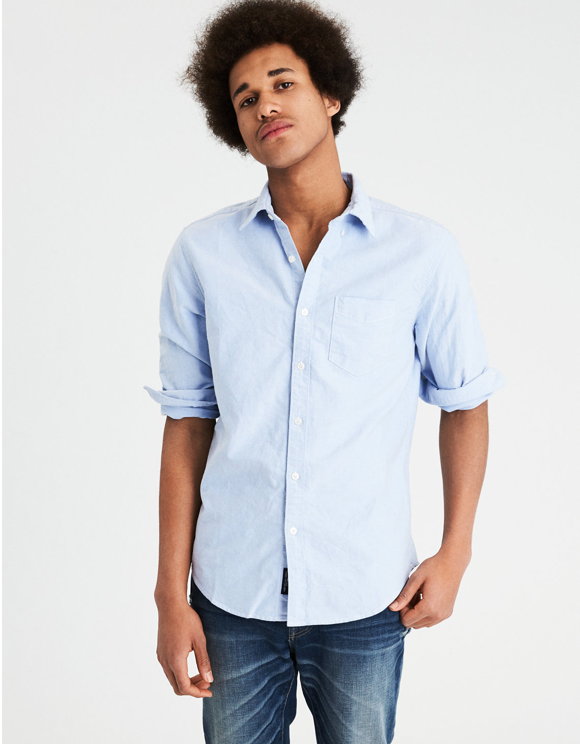 fc8a1f517684 AE Long Sleeve Oxford Button Up Shirt
