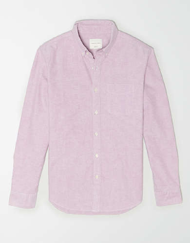 AE Solid Oxford Button-Up Shirt