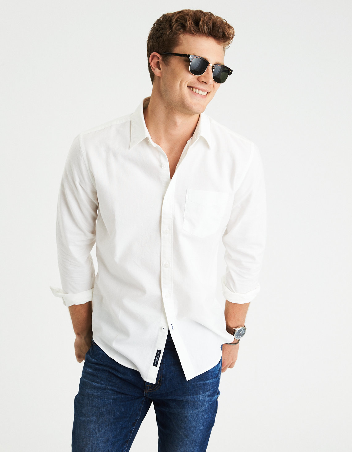 AEO Solid Oxford Button Down Shirt, White | American Eagle Outfitters
