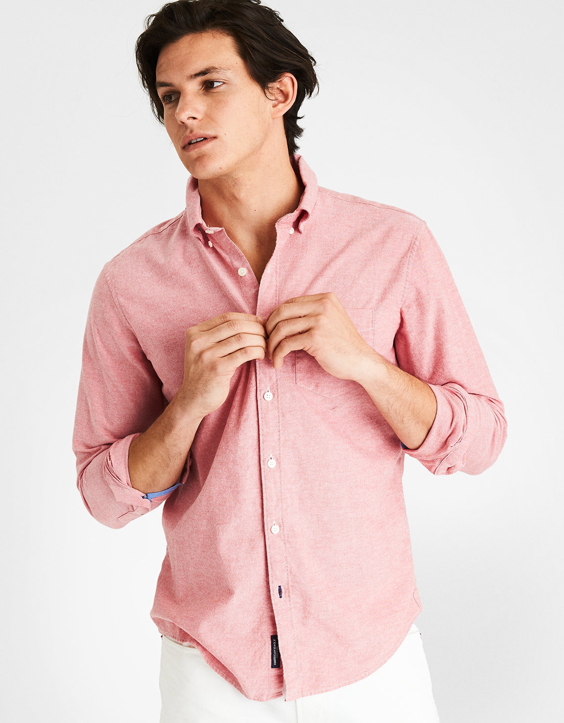 aeo solid oxford button down shirt red