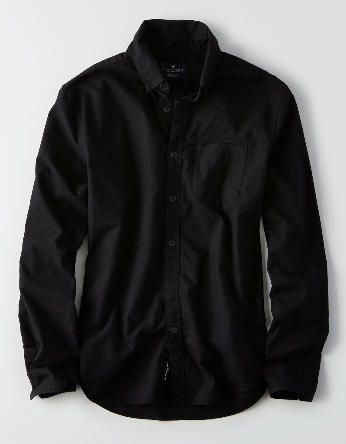 AE Classic Button Down Oxford Shirt, Black | American Eagle Outfitters