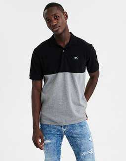 Ae Short Sleeve Color Block Logo Polo Shirt by American Eagle Outfitters