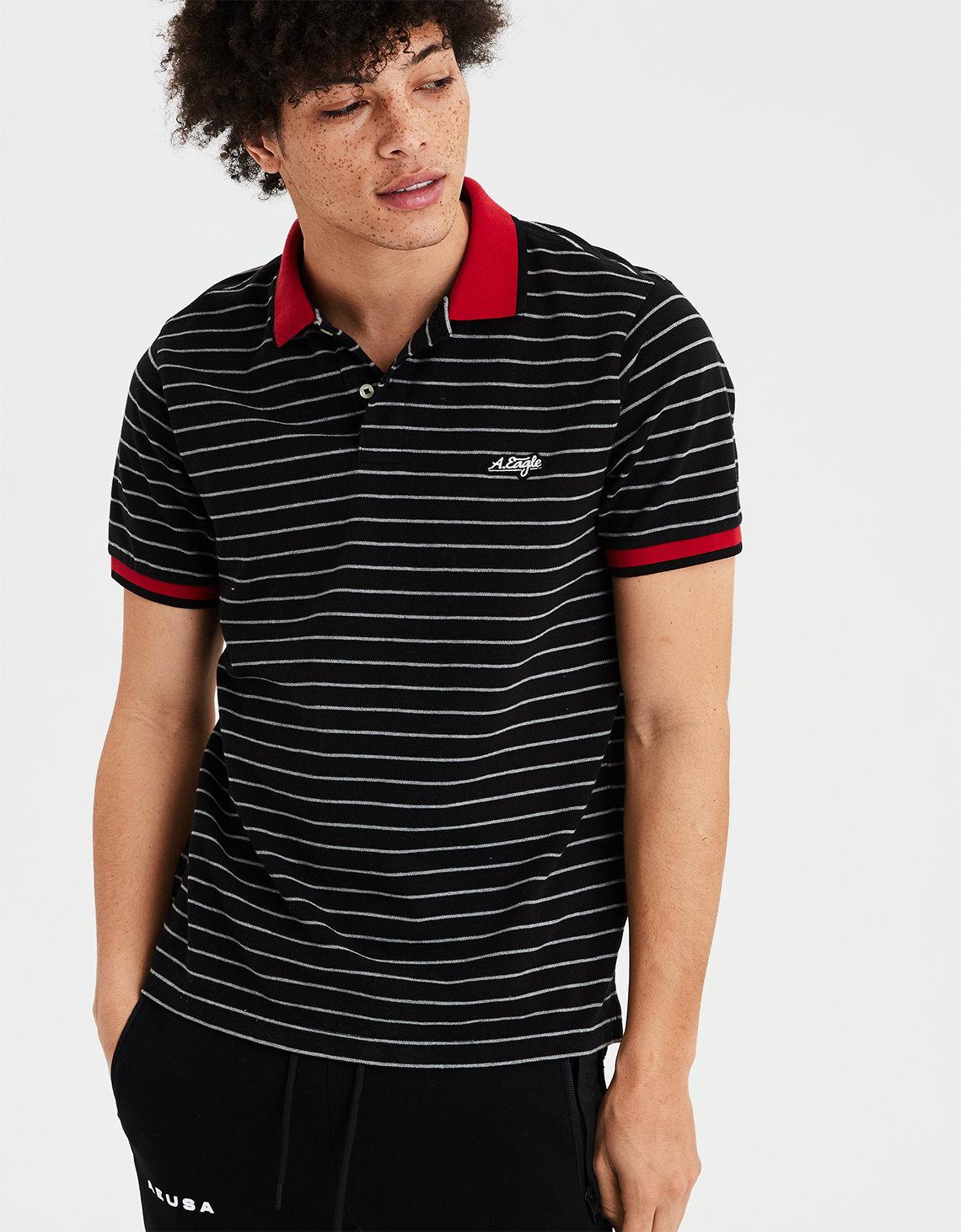 Ae Short Sleeve Logo Stripe Polo Shirt Black American Eagle