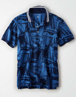 AE Short Sleeve Printed Polo Shirt