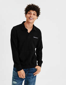 Ae Long Sleeve Rugby Polo Shirt by American Eagle Outfitters