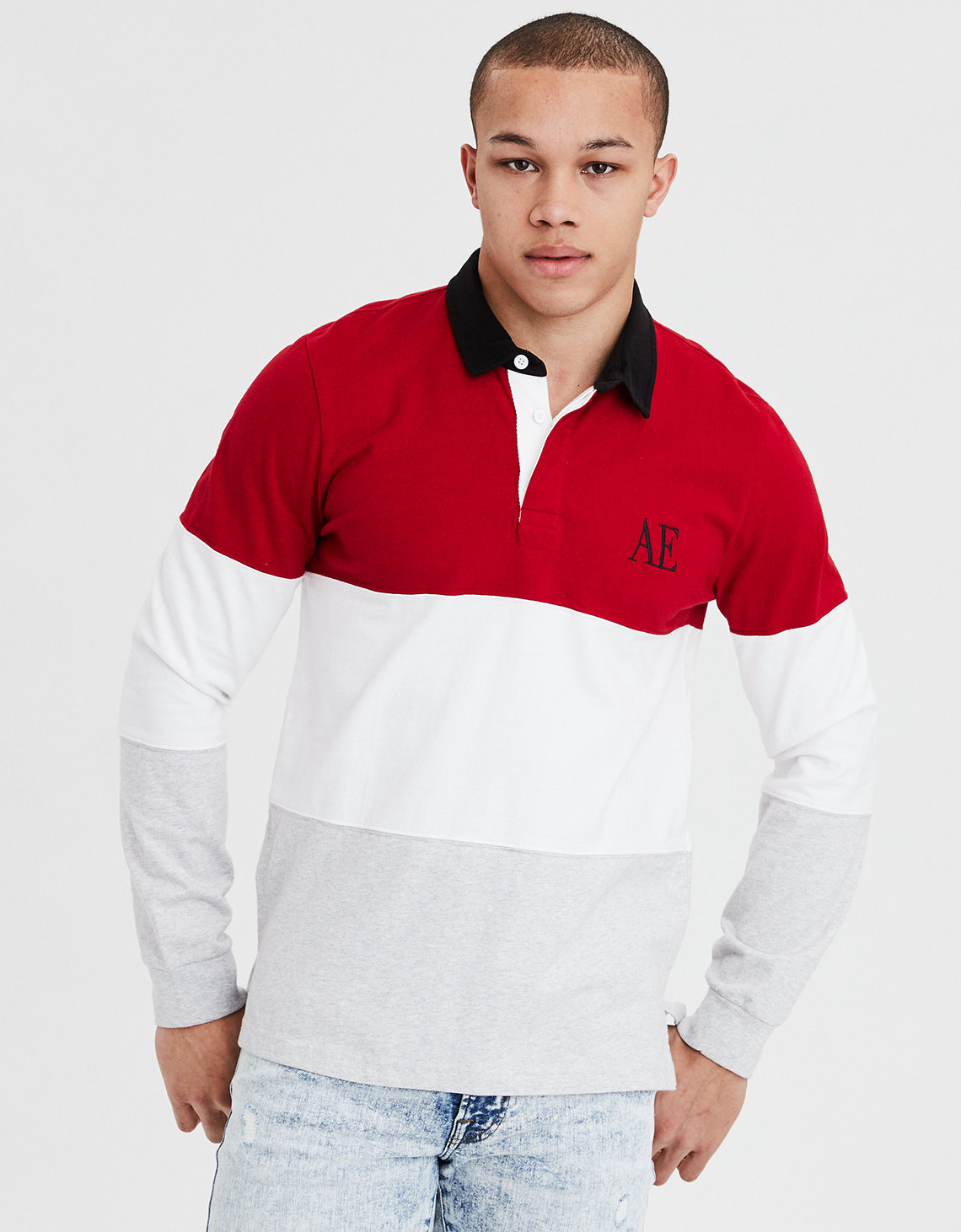 Ae Long Sleeve Rugby Shirt Red American Eagle Outfitters