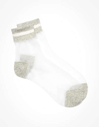 Memoi Sheer Striped Ankle Sock