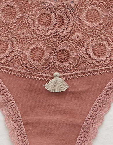 Aerie Cotton Lace Trim Thong Underwear