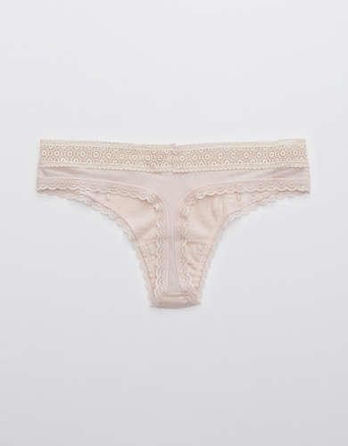 Aerie Queens Lace Cotton Thong Underwear