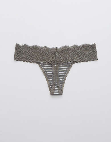 Aerie Cotton Eyelash Lace Thong Underwear