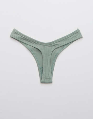 Aerie Ribbed High Cut Thong Underwear
