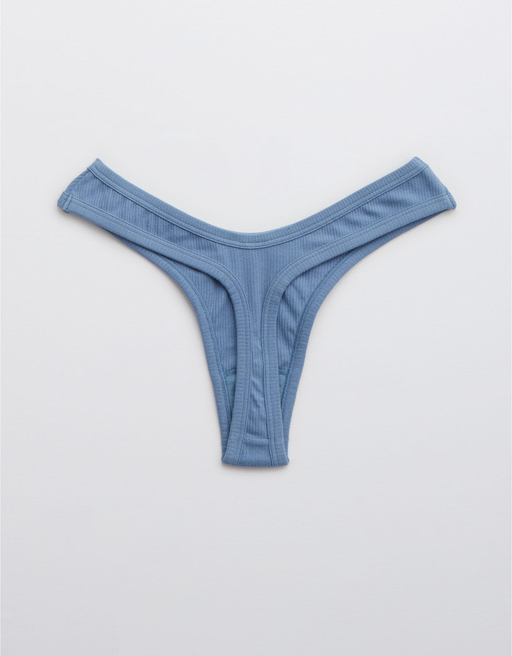 Aerie Ribbed Cotton High Cut Thong Underwear
