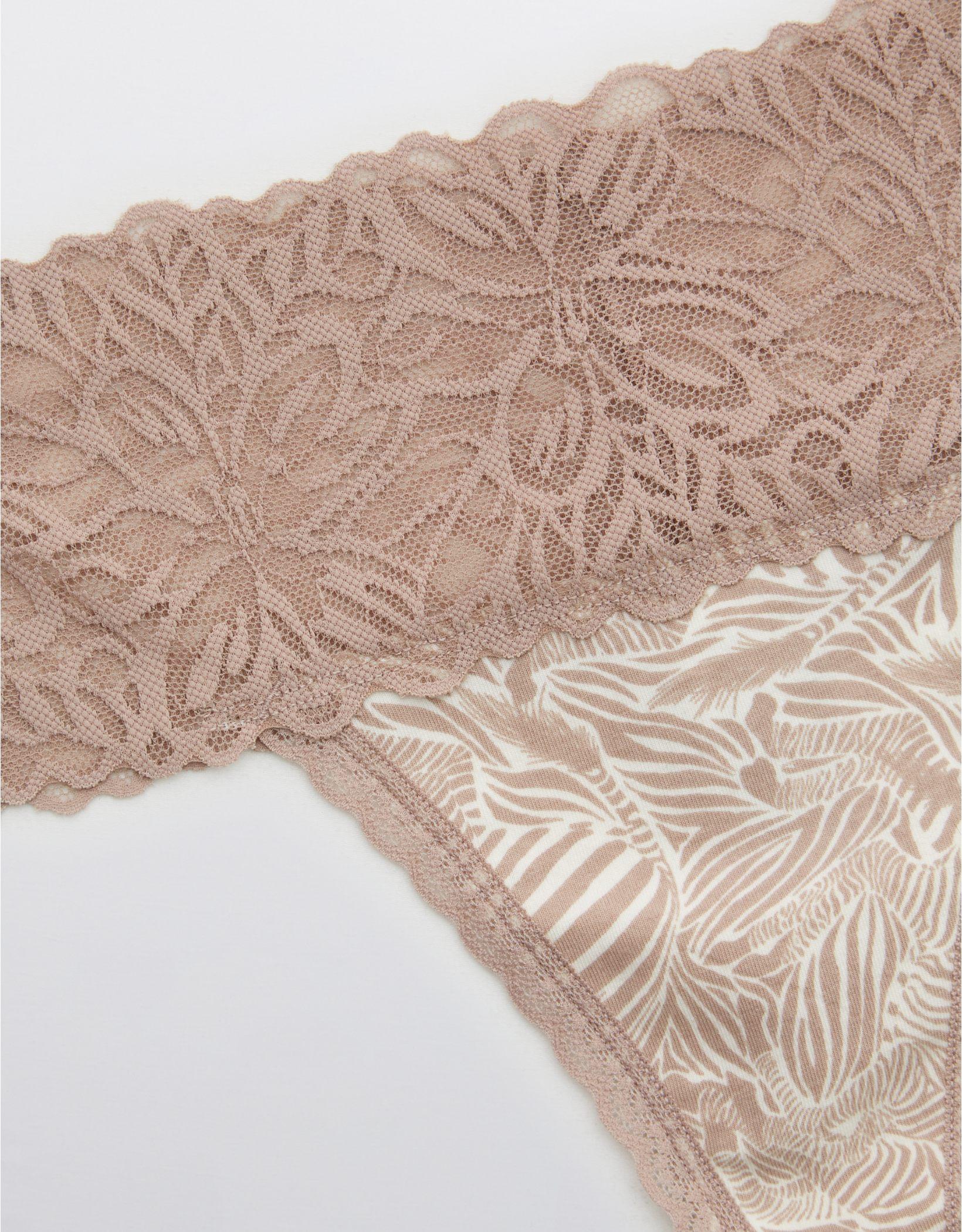 Aerie Cotton Firework Lace Printed Thong Underwear