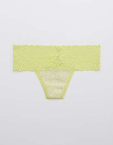 Aerie Cotton Firework Lace Printed Thong Underwear