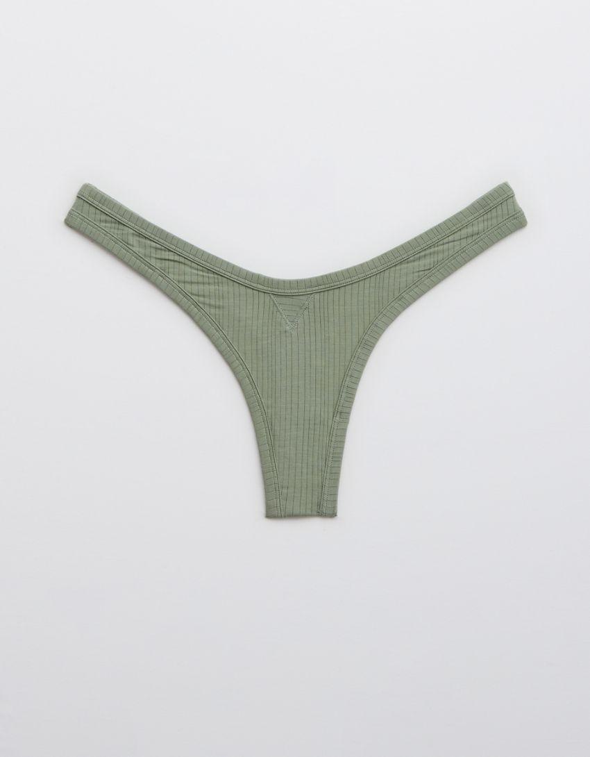Aerie Modal Ribbed High Cut Thong Underwear