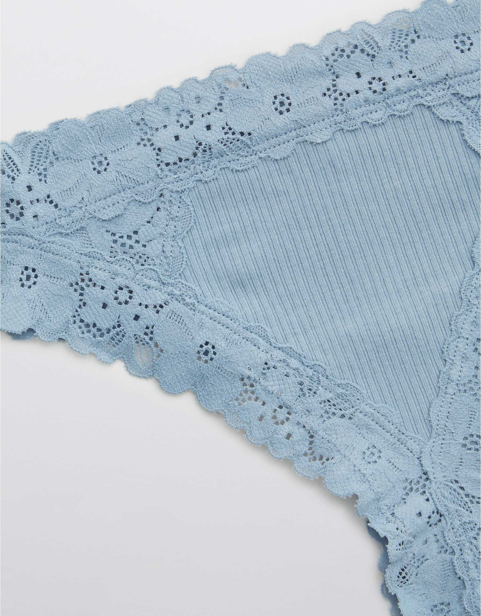 Aerie Ribbed Retro Lace Thong Underwear