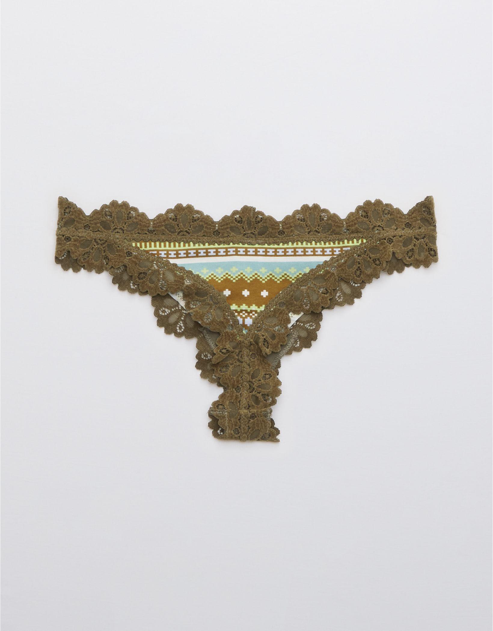 Aerie Cotton Snowday Lace Thong Underwear