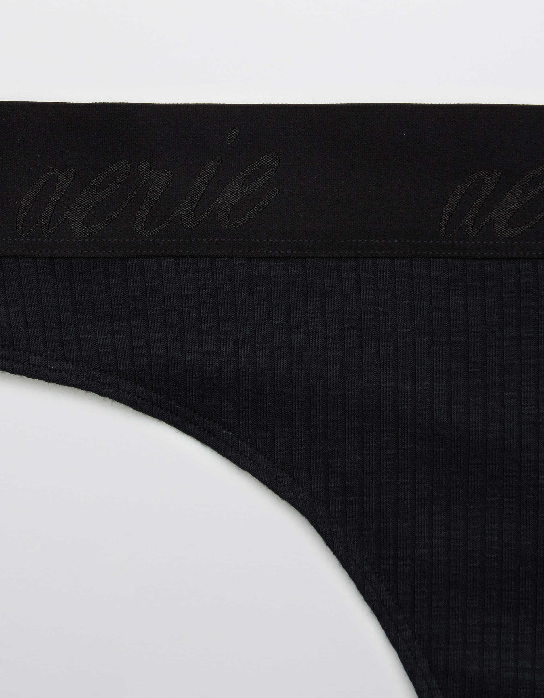 Aerie Ribbed Logo High Waisted Thong Underwear