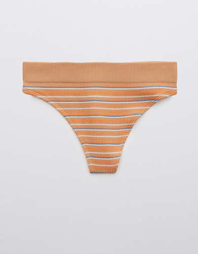 Aerie Ribbed Seamless High Cut Thong Underwear