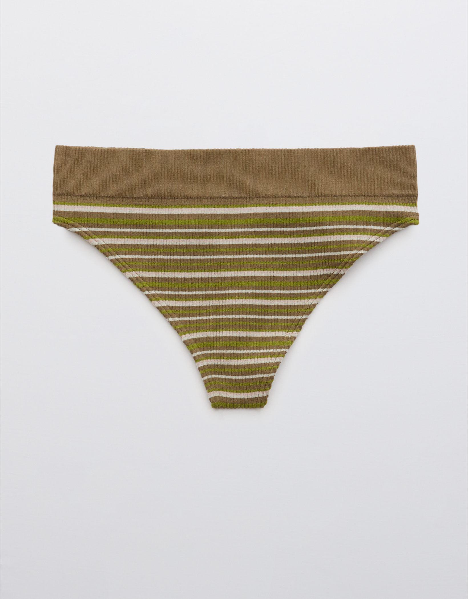Aerie Ribbed Seamless High Cut Thong Underwear