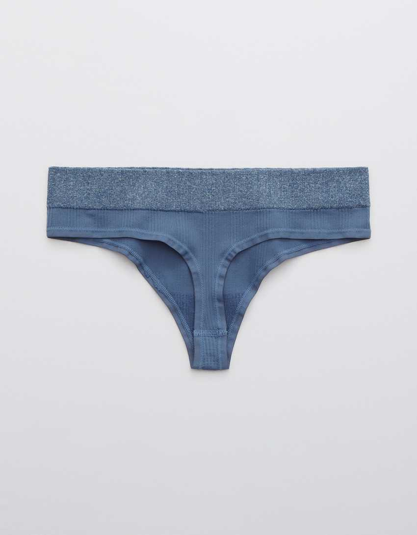 Aerie Ribbed Seamless Heather Thong Underwear
