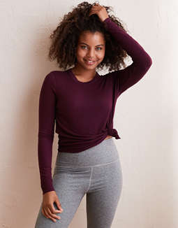 Aerie Real Soft® Ribbed Long Sleeve Tee by American Eagle Outfitters