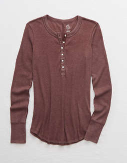 Aerie Long Sleeve Ribbed Henley T-Shirt