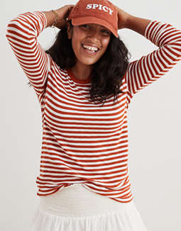 Aerie Ribbed Striped Long Sleeve T-Shirt