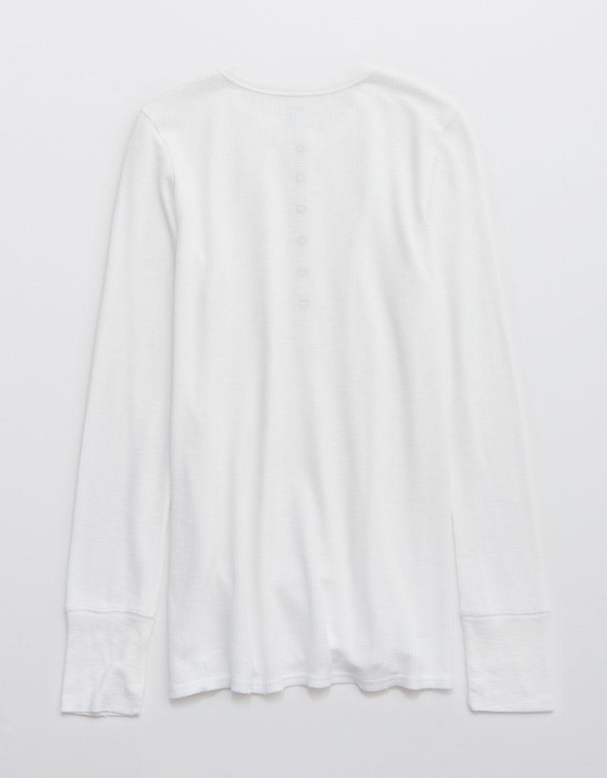 Aerie Waffle Long Sleeve Henley T-Shirt